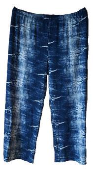 Marlenehose Viskose-Jersey Jeansblau & Weiß (MH-867)