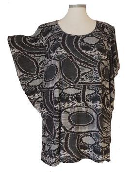 Longshirt mit Flügelarm Feine Soft-Touch-Qualität Schwarz Grau (SFS-636)