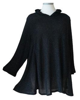 Chic & Elegant Pullover in A-Linie mit Kapuze Schwarz (BRPKP-019)