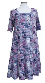 SunShine Kleid in 6-Bahnen A-Linie Soft-Touch Violet Blau Weiß (MD-KL-663)
