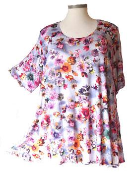 SunShine Shirt in 6-Bahnen A-Linie Violet Blue Pink Flower (MD-12)