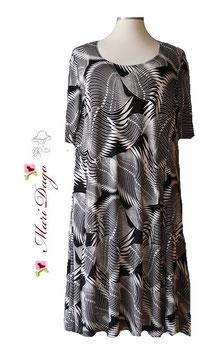 SunShine Kleid A-Linie Palmenblätter Schwarz Weiß