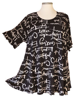 SunShine Shirt in 6-Bahnen A-Linie Words Black & White (MD-28)