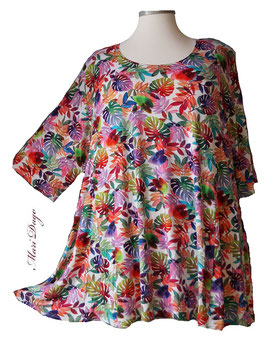 SunShine Shirt in A-Linie - Vielfarbige Blätter & Zweige - (MD-53)