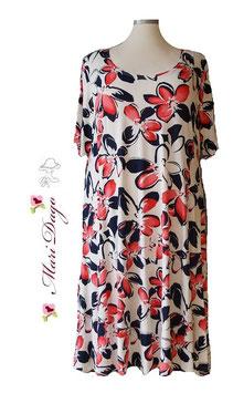 SunShine Kleid A-Linie Weiß mit großen Blumen Weiß Dunkelblau Rot