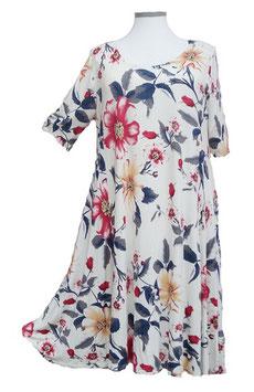 SunShine Kleid in 6-Bahnen A-Linie Grauweiß mit großem Blumenmuster (MD-KL-616)