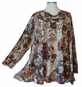 Pullover mit Zackenausschnitt Rosen Braun (L60)