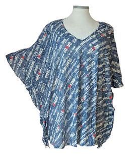 ButterflyCut Shirt Super-Light Jeans-Flower-Color & Words Weiß Blau (BC-758)