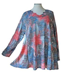 Schillernder Pullover mit Zackenausschnitt Light-ColorArt-Design Lachsrosé Eisblau Blau (LCA-07-ZA) (L51)