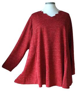 Pullover mit Zackenausschnitt Rot-Melange mit Funkelchen-Highlights (MFH-02-RM-FH) (L49)
