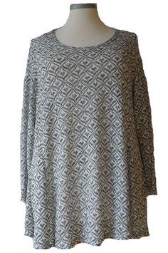 Pullover in A-Linie Baumwolle Wß/SW