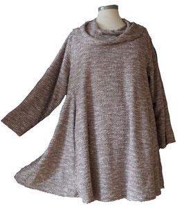 Chic melierter und funkelnder Herbst Winter Pullover in Sunshine A-Linie mit Schalkragen Grau Beige Violet  MA-Nr.09