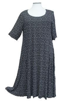 SunShine Kleid in 6-Bahnen A-Linie Schwarz Weiß Blättchendesign (MD-KL-619)