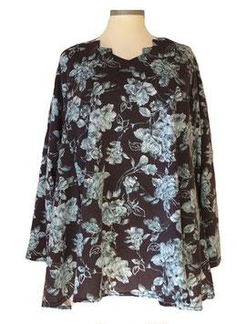 Pullover mit Zackenausschnitt Rosen Schwarz Blau (L66)