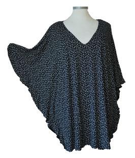 ButterflyCut Shirt Schwarz Weiß Blättchendesign (BC-774)