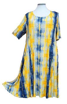 SunShine Kleid in 6-Bahnen A-Linie Yellow & Blue mit weißem Aufdruck (MD-KL-669)