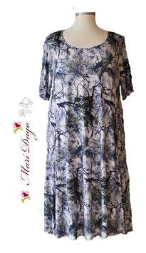 SunShine Kleid A-Linie Weiß-Blau Äste