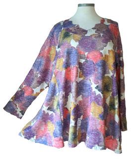 Schillernder Pullover mit Zackenausschnitt Ginko-Leaves-Light-ColorArt-Design Weiß (L58)