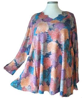 Schillernder Pullover mit Zackenausschnitt Ginko-Leaves-Light-ColorArt-Design Dunkelblau (L63)