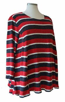 Flauschiger Chenille Pullover in A-Linie Lurex Rot Schwarz Weiß (FCP-2864)