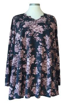 Pullover mit Zackenausschnitt Rosen Nachtblau Violet (L61)