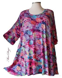 SunShine Shirt in A-Linie - Blätter Pastellfarben  - (Vis-03-20-21)