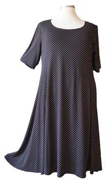 Shirtkleid A-Linie Viskose Schwarz mit kleinen weißen Punkten