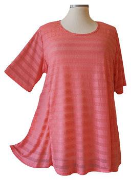 T-Shirt *Seidenweich & Leicht * A-Linie  ( Gestreift Lachsrosa ) T01