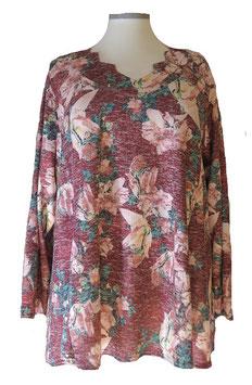 Schillernder Pullover mit Zackenausschnitt Bordeux-Flower-Light-ColorArt-Design (L67)