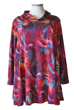 Pullover in A-Linie mit Kapuze Rot Pink (PMK-04)-(P-KP-388)