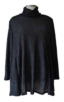 Chic & Elegant Pullover in A-Linie mit Rollkragen Schwarz (SPRK-12)-(P-376)