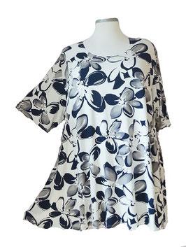 SunShine T-Shirt Big Flower Schwarz Weiß Grau (MD-933)