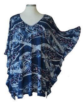 ButterflyCut Shirt Little Flower & More Jeans-Art-Colors Blau Weiß Violet (BC-778)