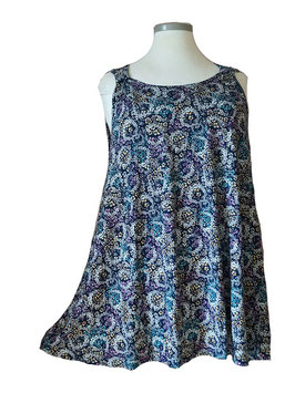 SunShine Top in A-Linie Little Flower Blau Bunt (T-V-913)
