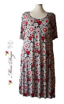 SunShine Kleid A-Linie Flower Schwarz Weiß Rot