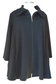 Leichte Jacke mit Reißverschluss 6-Bahnen A-Linie Schwarz Waffelpiqué (J-462)
