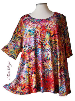 SunShine Shirt in A-Linie - Tropic Flower Bunt - (Vis-03-20-4)