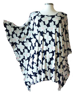 ButterflyCut Poncho Shirt große Blumen Blau Grau Weiß