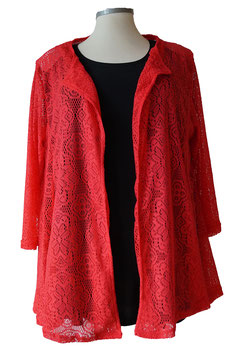 SunShine Cardigan in A-Linie aus roter Stretch-Spitze