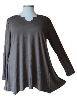 Tunika Shirt mit Zackenausschnitt Coffée (SPS-888)
