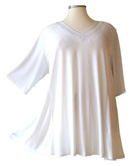SunShine T-Shirt in A-Linie mit V-Ausschnitt Viskose Weiß (UC-154-13)