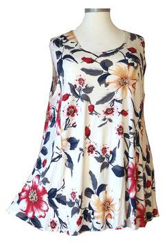 SunShine Top New Design Grauweiß mit großem Blumenmuster (ST-653)
