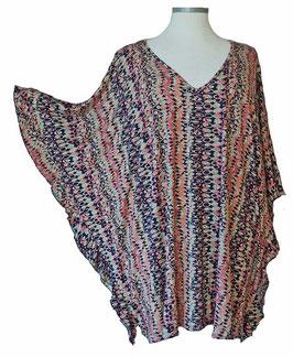ButterflyCut Shirt Schwarz mit kleinem Retro-Muster (BC-776)