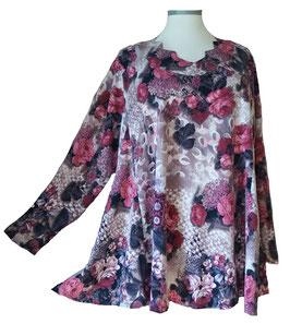Pullover mit Zackenausschnitt Rosen Violet Bordeux (L64)