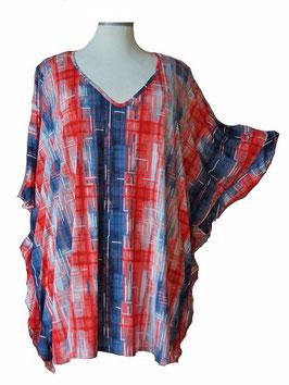 ButterflyCut Shirt Duo-Color Red & Blue mit weißem Aufdruck (BC-784)