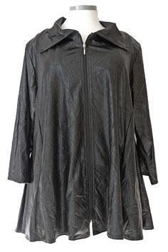 Knitter-Leder-Look Jacke mit Reißverschluss 6-Bahnen A-Linie Schwarz (J-461)