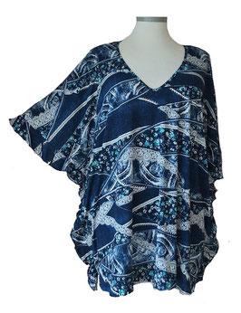 ButterflyCut Shirt Jeans-Art-Colors Blau Weiß Türkis (BC-754)