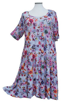 SunShine Kleid in 6-Bahnen A-Linie Violet Blue Pink Flower (MD-KL-611)