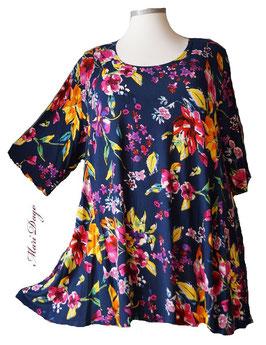 SunShine Shirt in A-Linie - Blau mit großen und kleinen Blumen - (Vis-03-20-10)