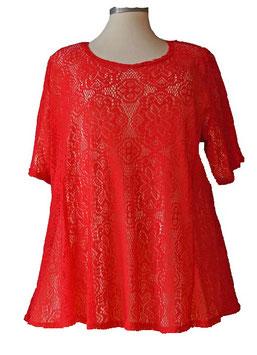T-Shirt  A-Linie * Häkellook *  ( Rot ) T05